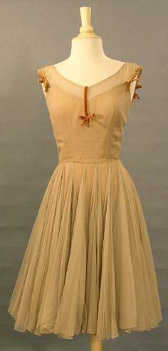 Sophie Gimble Tan Chiffon Dress. I adore this simple elegant dress.