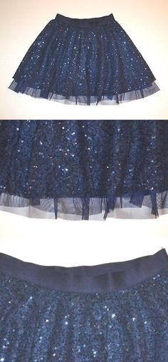 ae918176d5 Skirts 51583: Nwt Gap Kids Navy Blue Girls Sequin And Tulle Party Skirt 10 L