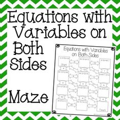 This is a maze composed of 11 equations with variables on both sides.  It is a self-checking worksheet that allows students to strengthen their skills at solving equations with variables on both sides.Answer key is included for easy grading.For a money saving value be sure to check out my 8th Grade Math Bundle which includes all my 8th grade math activities for over 50% off!