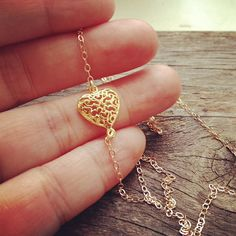 14K Gold Filled Sideways Heart Necklace