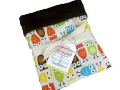 Bermuda Owls Baby Blanket backed with chocolate by NewEnglandGifts, $32.00