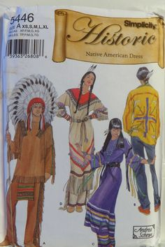 Simplicity 5446 Misses', Men's and Teen's Native American Clothing