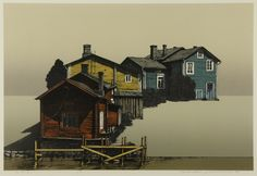Hodaka Yoshida, houses at the other bank of a river 1984 Landscape Drawings, Landscape Art, Landscape Paintings, Modern Artists, Contemporary Artists, T Art, Abstract Portrait, Japanese Prints, Japan Art