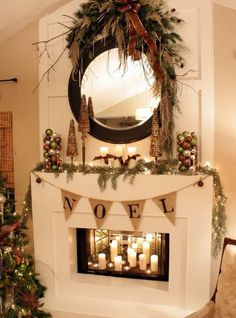 Greenery swag over mirror - Red Cherry Wreath with Evergreen Garland Draped Across the Mantel