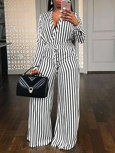 Style:Fashion Pattern Type:Striped Material:Polyester Neckline:V-Neck Sleeve Style:Long Sleeve Length:Regular Occasion:Workwear,casual Package Jumpsuit Model Is In Size S Model Measurement. Casual Wear, Casual Dresses, Dresses For Work, Dresses Dresses, Dresses Online, Formal Dresses, Chic Outfits, Fashion Outfits, Womens Fashion
