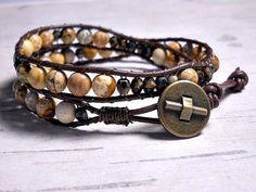 Jasper Bead Double Wrap Bracelet Leather by BeadWorkBySmileyKit