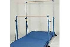 Professionally made gymnastics bars can cost from hundreds to thousands of dollars from gymnastics equipment companies. Building a single bar by yourself may greatly reduce the cost. Gymnastics bars used in gyms are made of galvanized steel, but you can c Diy Gymnastics Bar, Gymnastics Bars For Home, Gymnastics Bedroom, Gymnastics Equipment For Home, Gymnastics Moves, Gymnastics Tricks, Gymnastics Stuff, Gymnastics Clothes, Gymnastics Pictures