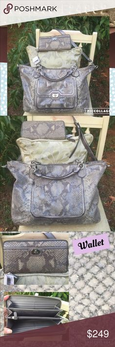 """F24852 Coach Campbell Python Wallet Purse Set This is a gorgeous and unique set.  The purse is very large and both items are in great shape.  The purse & wallet are pre-owned and the snakeskin has naturally """"worn"""" with age (see last picture; background magnified).  This is not a big deal and uniformly normal, just mentioning if you've never had a Python bag previously.  These are both smoke and pet free, and they are very clean.  Please check out my other items.  I'm a teacher, and I clean…"""