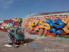 Graffiti wall at a construction site