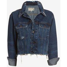 rag & bone/JEAN Unfinished Edge BF Crop Jacket: La Paz ($129) ❤ liked on Polyvore featuring outerwear, jackets, tops, coats, cotton jacket, boyfriend jean jacket, boyfriend jacket, blue denim jacket and blue cotton jacket