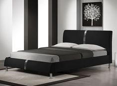 dimensions: cm, dimensions for mattress: cm, material: eco leather / chrome steel, color: black Black Leather Bed, Bed Springs, Black Bedding, Upholstered Beds, Bedroom Bed, Bedrooms, Mattress, Modern, House