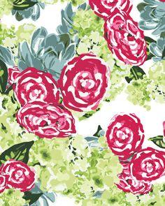Peonies, Hydrangeas and Succulents Art Print