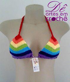 Crochet Lingerie, Crochet Bra, Crochet Bikini Top, Crochet Clothes, Grannies Crochet, Rainbow Crochet, Bikini Pattern, Crochet For Kids, Chic Shop