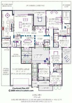 House plan with courtyard. Photos show very modern house, but the plan is workable. One story. Best House Plans, Dream House Plans, Modern House Plans, House Floor Plans, Houses Architecture, Architecture Unique, Modern Courtyard, Courtyard House Plans, Courtyard Design