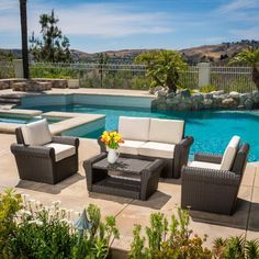 urban furnishing bali 6pc modern outdoor backyard wicker rattan