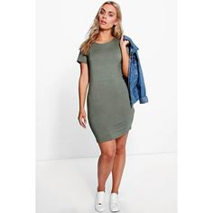 Boohoo Plus Plus Faith Short Sleeve Bodycon Dress ($16) ❤ liked on Polyvore featuring plus size women's fashion, plus size clothing, plus size dresses, khaki, short sleeve cocktail dress, white cami dress, white bodycon dress, short sleeve dress and short sleeve bodycon dress