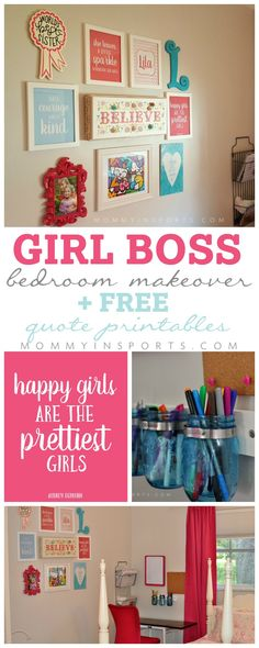 Is your daughter looking for a big girl room? Try this girl boss makeover with FREE quote inspirational printables! Perfect to inspire your budding tween!