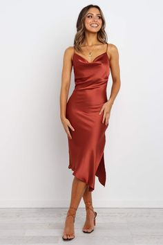 Cyprus Dress - Rust - Petal & Pup USA DETAILS midi length adjustable shoulder straps cowl neckline slightly curved back hem satin sheen finish asymmetrical unlined also available in Black, Emerald, Gold and Navy SIZING model is 7 Red Slip Dress, Dress Up, Burgundy Satin Dress, Long Slip Dress, Dress Night, Navy Dress, Dress Shirt, Dress Black, Satin Dresses