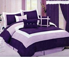 Purple Bedroom Decor with Purple Bedding and Comforter Sets Purple Bedspread, Purple Comforter, Purple Bedding Sets, Purple Bedrooms, Lavender Comforter, Fur Comforter, Queen Size Comforter Sets, King Size Comforters, Purple Home