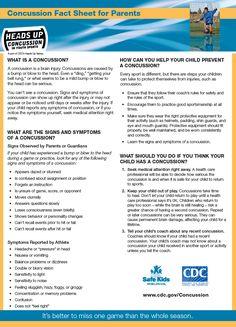 Concussion Fact Sheet for Parents #sportssafety #concussion #facts