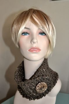 Neckwarmer Cowl Button Scarf CHOOSE COLOR Barley Brown by lucymir