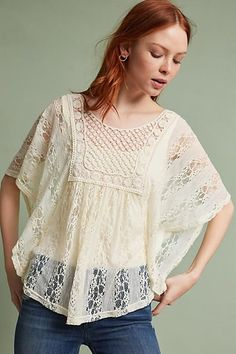 Sunday in Brooklyn Crochet & Lace Poncho Pullover
