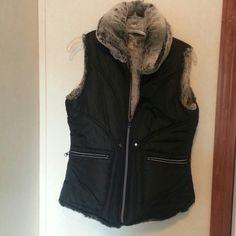 Reversible vest Faux fur vest,  pockets on both sides.  Great condition! Jackets & Coats Vests