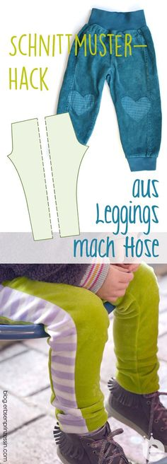 Sewing Hack: Leggings make kids pants. Sewing tutorial for simple children's trousers after a leggings cut nut Sewing Hacks, Sewing Tutorials, Sewing Projects, Art Projects, Sewing For Kids, Baby Sewing, Clothing Patterns, Sewing Patterns, Baby Kids