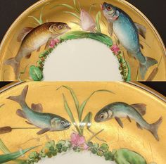 "Antique Minton 9"" Cabinet Plate, Gold with Hand Painted Fish, Flowers from antiques-uncommon-treasure on Ruby Lane"