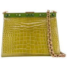 Preowned Prada Green Crocodile Leather Clutch, 2000s (146,755 MXN) ❤ liked on Polyvore featuring bags, handbags, clutches, green, green handbags, green purses, yellow handbags, chain handle handbags and chain purse