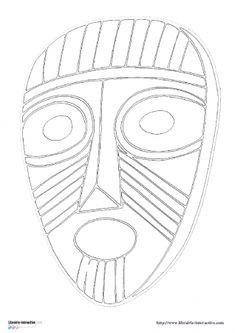Librairie interactive masques africains coloriages - Dessin de masque africain ...