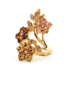 Rhinestone Flowers & Leaves Ring: Charlotte Russe