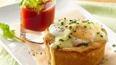 Eggs Benedict Biscuit Cups with Bloody Mary Shooters!  Hello Easter! :)