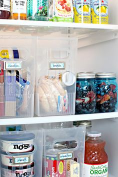 clear plastic storage bins in the fridge - brilliant   39 Our Favorite Daily Organizing Solutions