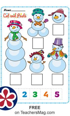 Cut and Paste Snowman Body-Counting: Students paste the correct number with the total body segments of the snowmen. Snow Activities, Winter Activities For Kids, Preschool Learning Activities, Free Preschool, Preschool Themes, Preschool Worksheets, Preschool Activities, Free Printable Handwriting Worksheets, Dora Coloring