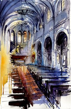 i love churches and cathederals for the beautiful interior rather than the doctrine. Tony Belobrajdic WATERCOLOR Church in Pornic, France Watercolor Architecture, Watercolor Landscape, Art And Architecture, Watercolor Sketch, Watercolor Paintings, Watercolors, City Painting, A Level Art, Urban Sketching