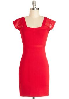 Hey, Sultry Sister Dress - Sheer, Knit, Short, Red, Solid, Party, Bodycon / Bandage, Cap Sleeves