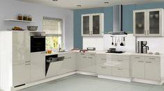 Küchen Meyer front in hochglanz lack rubinrot korpus alusilber in 5 weiteren
