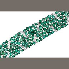 Image result for Diamond and emerald mosaic bracelet by Nina Runsdorf
