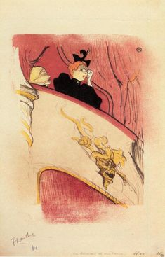 """artist-lautrec: """"The Box with the Guilded Mask, 1893, Henri de Toulouse-Lautrec """""""