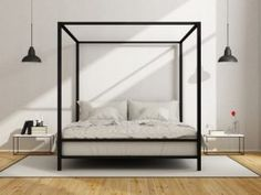The design of the bedroom with canopy bed nuanced monochrome (Fotolia)