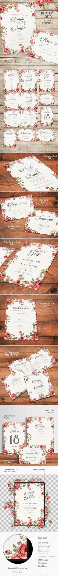 Rustic Floral Wedding Invitations  #template #cards #print #invites