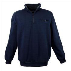 Marken Sweatshirt mit Zipper 6XL dunkelblau * Herren-Übergrössen-Mode