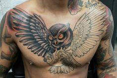 Owl chest tattoo in progress