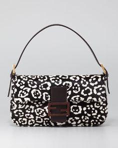 V1AVX Fendi Cheetah-Print Calf Fur Baguette
