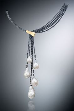 Five Pearl Necklace by Suzanne Schwartz (Gold, Silver & Pearl Necklace) Artful . - Five Pearl Necklace by Suzanne Schwartz (Gold, Silver & Pearl Necklace) Artful home – Five pearl - Pearl Jewelry, Bridal Jewelry, Beaded Jewelry, Jewelery, Jewelry Necklaces, Beaded Necklace, Gold Necklace, Handmade Jewelry, Gold Jewelry