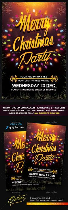 Merry Christmas Party Flyer Template PSD #design Download: http://graphicriver.net/item/merry-christmas-party-flyer/13748781?ref=ksioks