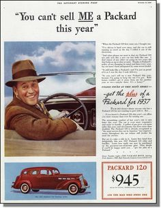1937 Packard 120 Touring Sedan automobile ~ Can't sell me one this year car-ad | eBay