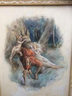 Thomas Maybank   watercolour scene from midsummer night's dream