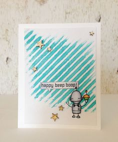 Lawn Fawn - Beep Boop Birthday _ super cute card by Samantha via Flickr - Photo Sharing!